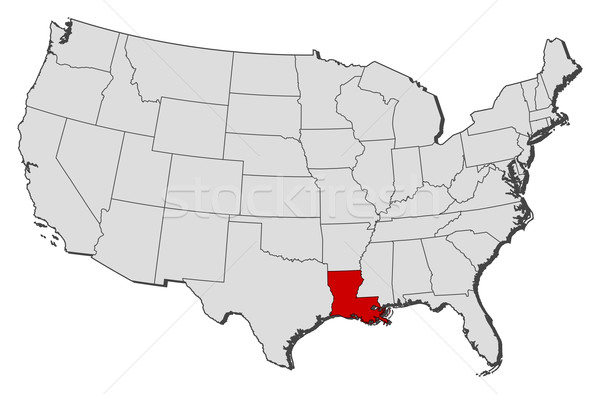 Map Of The United States Louisiana Highlighted Vector: Map Of The United States Louisiana At Usa Maps