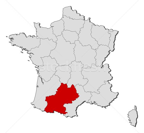 ストックフォト: 地図 · フランス · 政治的 · いくつかの · 地域 · 世界中