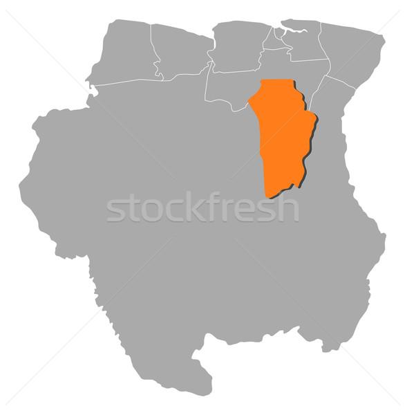 Map of Suriname, Brokopondo highlighted Stock photo © Schwabenblitz