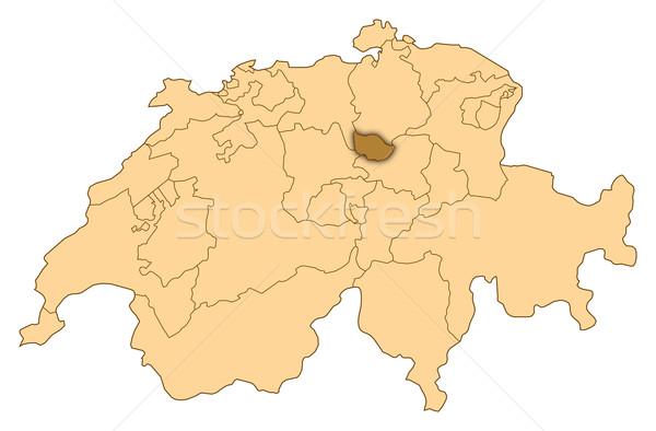 Map of Switzerland, Zug highlighted Stock photo © Schwabenblitz