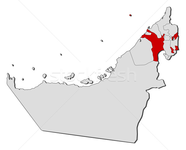 Map of the United Arab Emirates Sharjah highlighted vector