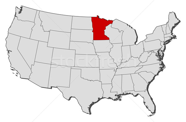 Map of the United States Minnesota highlighted vector