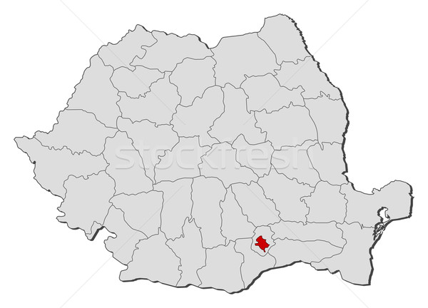 Map of Romania, Bucharest highlighted Stock photo © Schwabenblitz
