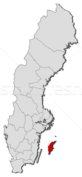 Map of Sweden, Gotland County highlighted Stock photo © Schwabenblitz
