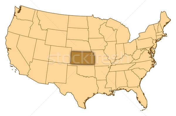 Map of United States, Kansas highlighted Stock photo © Schwabenblitz