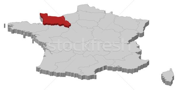 Térkép Franciaország alsó Normandia politikai néhány Stock fotó © Schwabenblitz