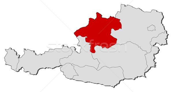 Map of Austria, Upper Austria highlighted Stock photo © Schwabenblitz