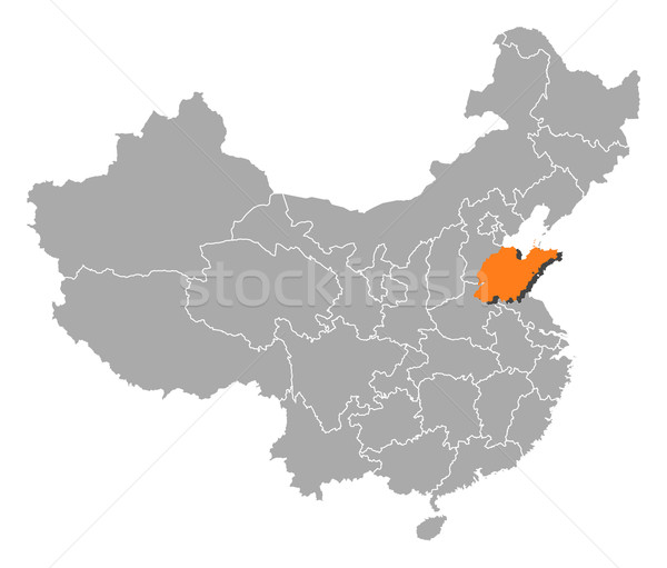 Map of China, Shandong highlighted Stock photo © Schwabenblitz