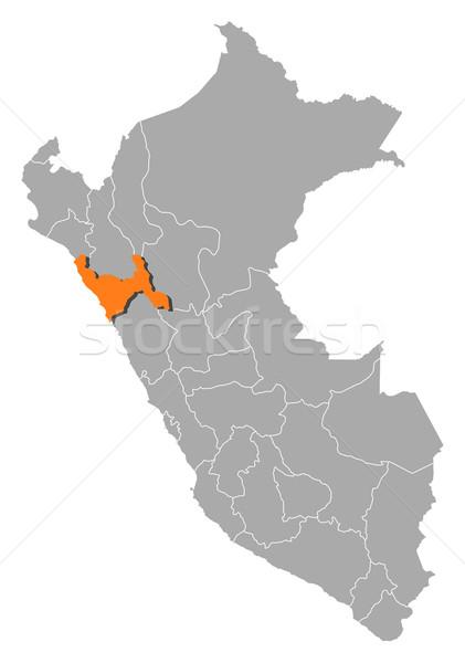Harita Peru siyasi birkaç bölgeler Stok fotoğraf © Schwabenblitz