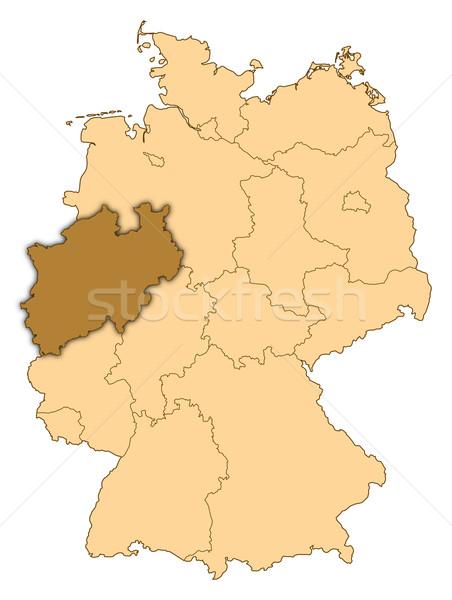 Map of Germany, North Rhine-Westphalia highlighted Stock photo © Schwabenblitz