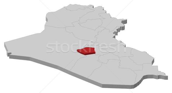 Map of Iraq, Karbala highlighted Stock photo © Schwabenblitz