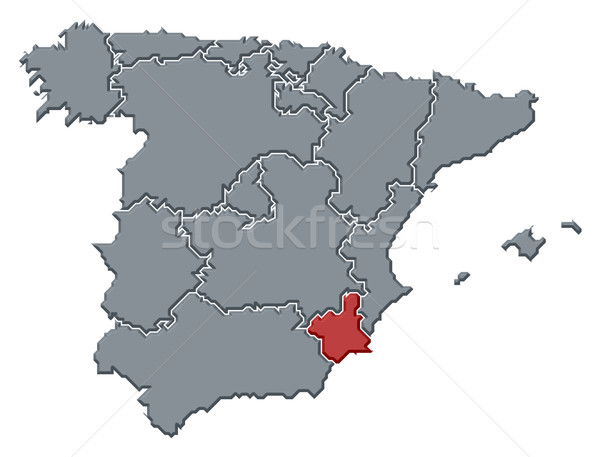 Map of Spain, Murcia highlighted Stock photo © Schwabenblitz