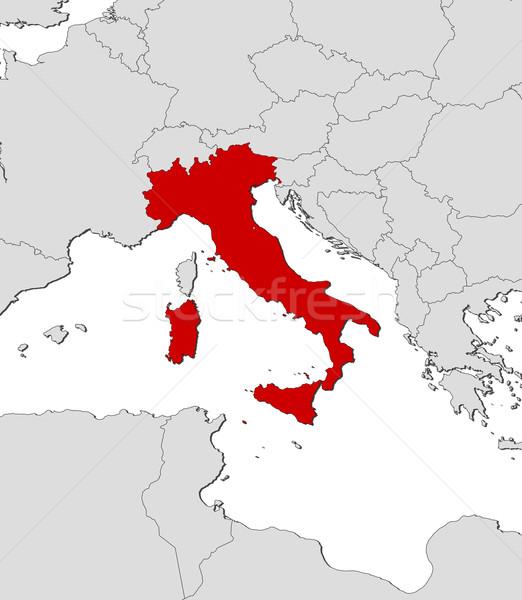 Stock fotó: Térkép · Olaszország · politikai · néhány · régiók · absztrakt