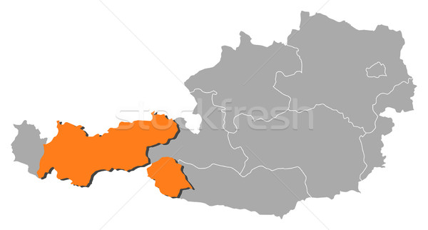 Map of Austria, Tyrol highlighted Stock photo © Schwabenblitz