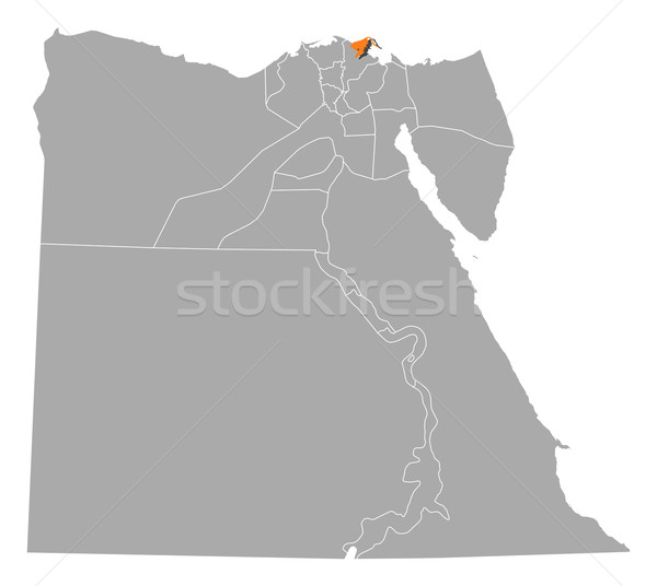 Map of Egypt, Damietta highlighted Stock photo © Schwabenblitz