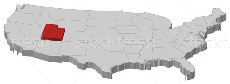 Map of the United States, Utah highlighted Stock photo © Schwabenblitz