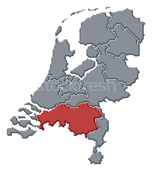 ストックフォト: 地図 · オランダ · 北 · 政治的 · いくつかの · 抽象的な