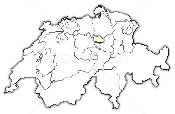 Map of Swizerland, Zug highlighted Stock photo © Schwabenblitz