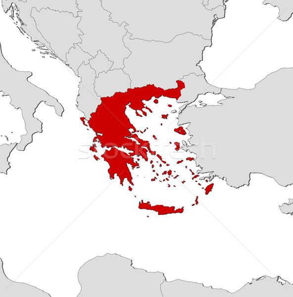 Stock fotó: Térkép · Görögország · politikai · néhány · absztrakt · világ