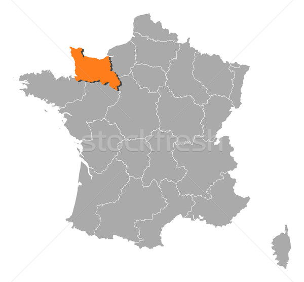 Mapa França baixar normandia político vários Foto stock © Schwabenblitz