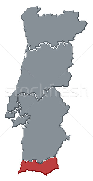 Map of Portugal, Algarve highlighted Stock photo © Schwabenblitz