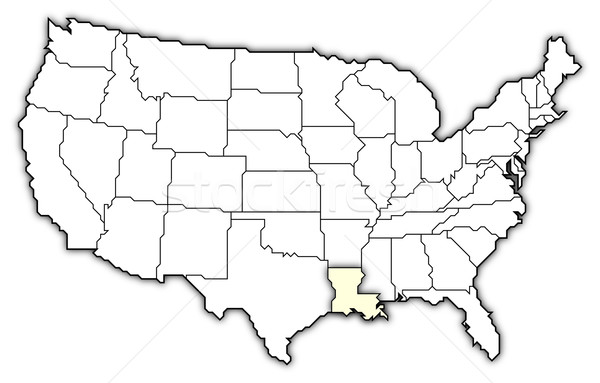 Map of the United States, Louisiana highlighted Stock photo © Schwabenblitz