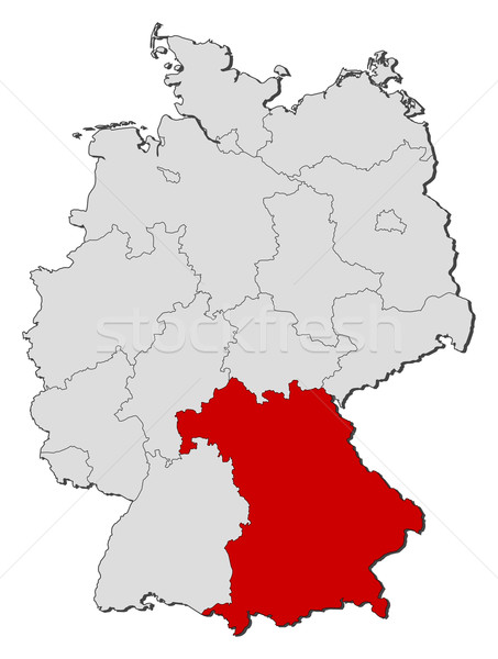 Map Of Germany Bavaria Highlighted Vector Illustration Steffen - Germany map bavaria
