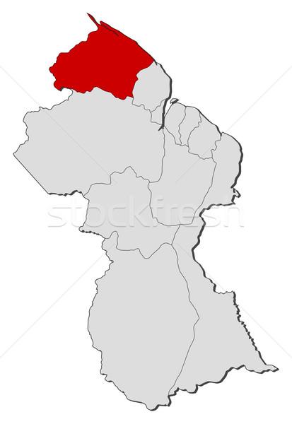 Harita Guyana siyasi birkaç bölgeler dünya Stok fotoğraf © Schwabenblitz