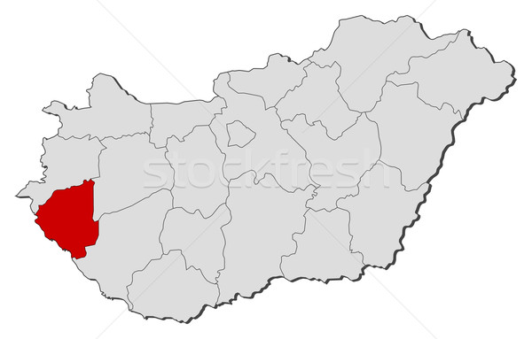 Map of Hungary, Zala highlighted Stock photo © Schwabenblitz