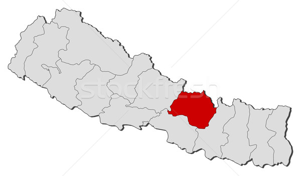 Map of Nepal, Bagmati highlighted Stock photo © Schwabenblitz