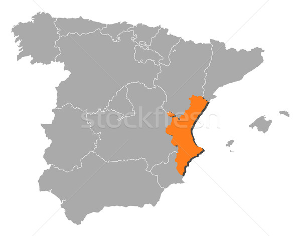 Map of Spain, Valencian Community highlighted Stock photo © Schwabenblitz
