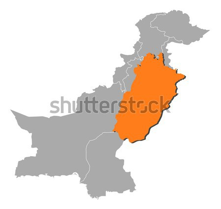 Map of Pakistan, Punjab highlighted Stock photo © Schwabenblitz