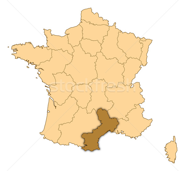 Map of France, Languedoc-Roussillon highlighted Stock photo © Schwabenblitz