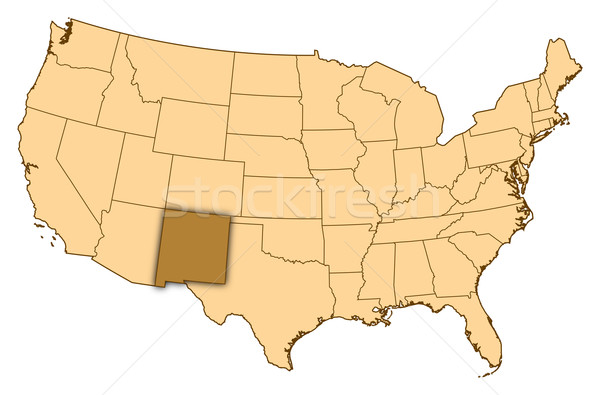 Map of United States, New Mexico highlighted Stock photo © Schwabenblitz