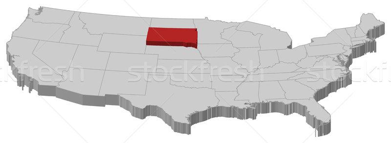 Térkép Egyesült Államok Dél-Dakota politikai néhány absztrakt Stock fotó © Schwabenblitz
