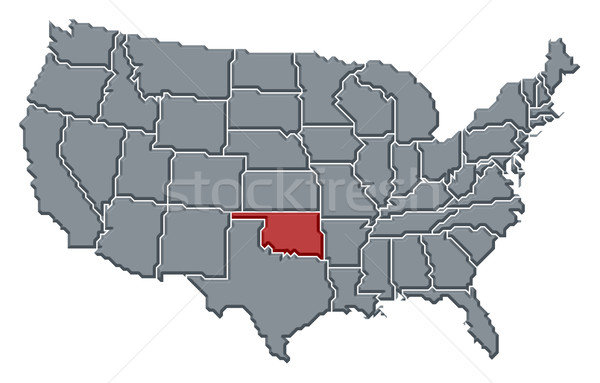 Oklahoma On Map Of United States.Map Of The United States Oklahoma Highlighted Stock Photo C Steffen