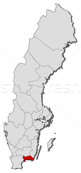 Map of Sweden, Blekinge County highlighted Stock photo © Schwabenblitz