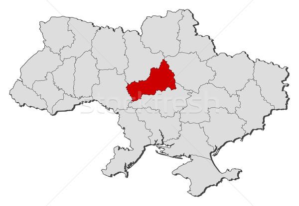 Foto stock: Mapa · Ucrânia · político · vários · globo · abstrato
