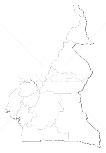 Foto stock: Mapa · Camerún · político · regiones · resumen