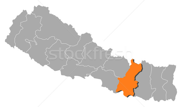 Map of Nepal, Janakpur highlighted Stock photo © Schwabenblitz