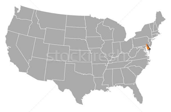 Stockfoto: Kaart · Verenigde · Staten · Delaware · politiek · verscheidene · abstract