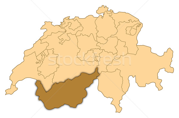 Map of Switzerland, Valais highlighted Stock photo © Schwabenblitz