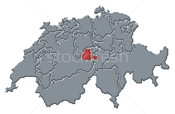 Map of Swizerland, Obwalden highlighted Stock photo © Schwabenblitz