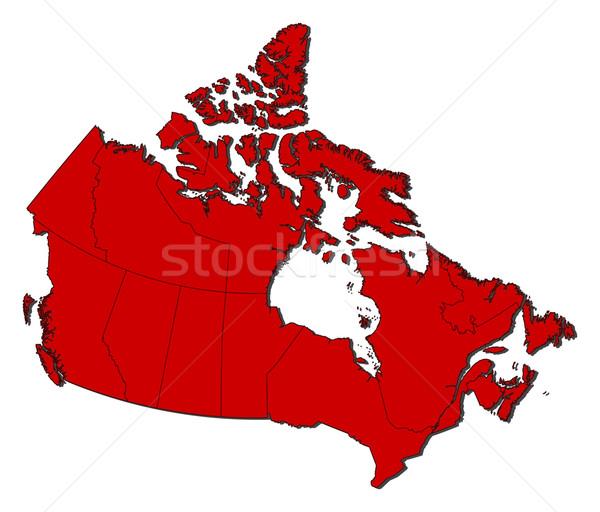 Mapa Canadá vermelho abstrato arte Foto stock © Schwabenblitz