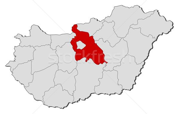 Map of Hungary, Pest highlighted Stock photo © Schwabenblitz
