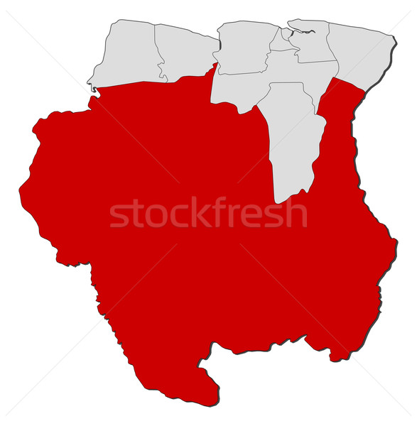 Map of Suriname, Sipaliwini highlighted Stock photo © Schwabenblitz
