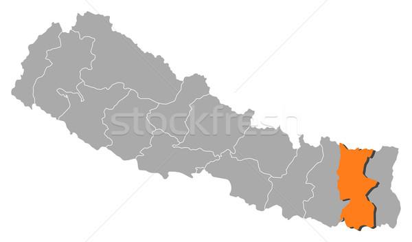 Map of Nepal, Koshi highlighted Stock photo © Schwabenblitz