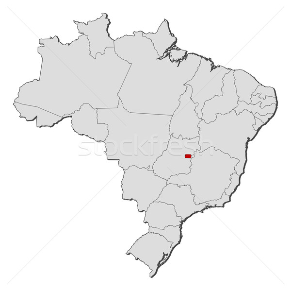 Map of Brazil, Brazilian Federal District highlighted Stock photo © Schwabenblitz