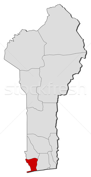 Map of Benin, Mono highlighted Stock photo © Schwabenblitz