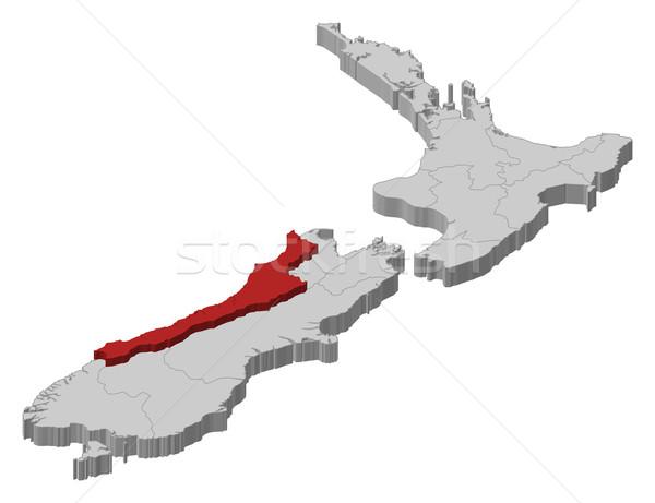 Map of New Zealand, West Coast highlighted Stock photo © Schwabenblitz
